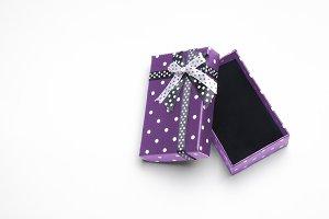 Small open purple gift box top