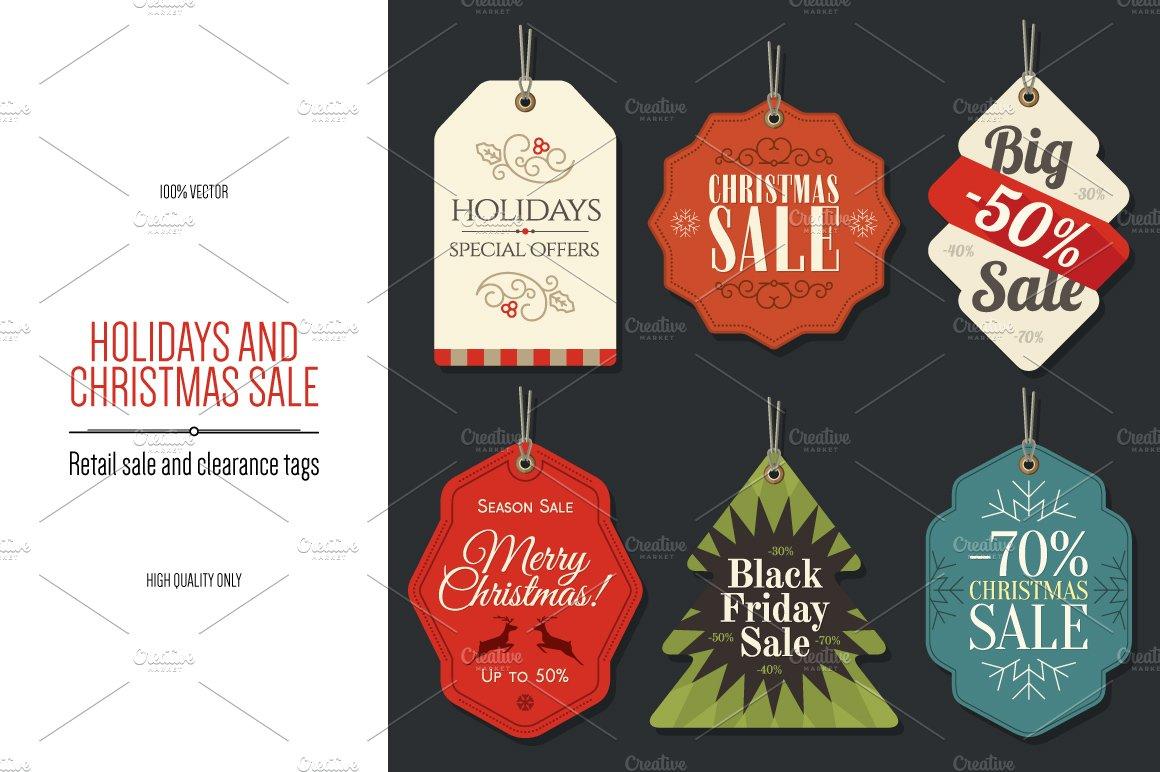 6 christmas retail sale tags logo templates creative market