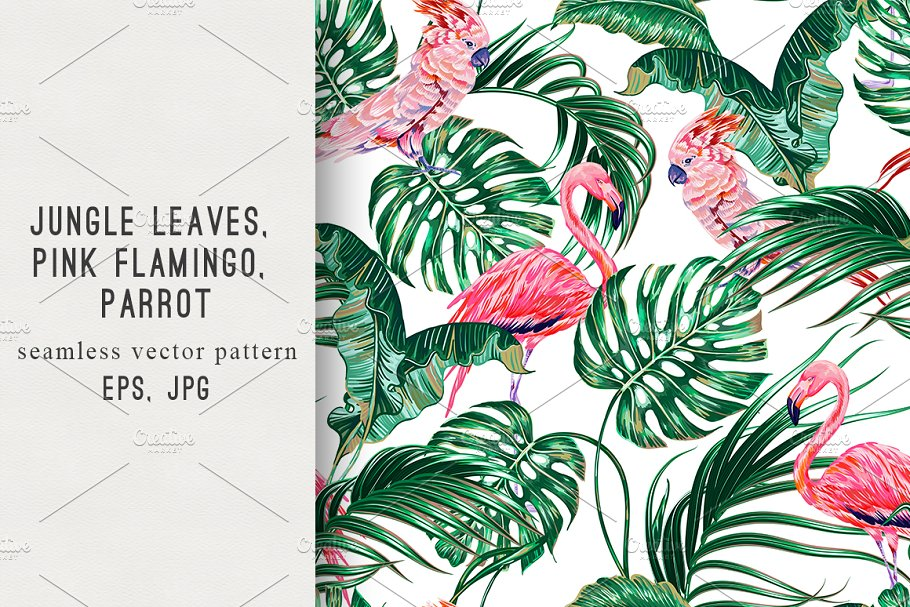 Tropical leaves,birds pattern