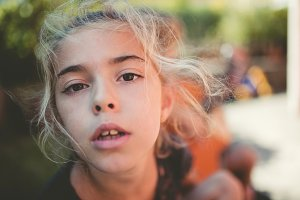 little girl portrait detail outdoors