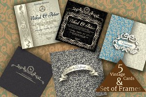 Set of Vintage Invitations & Frames