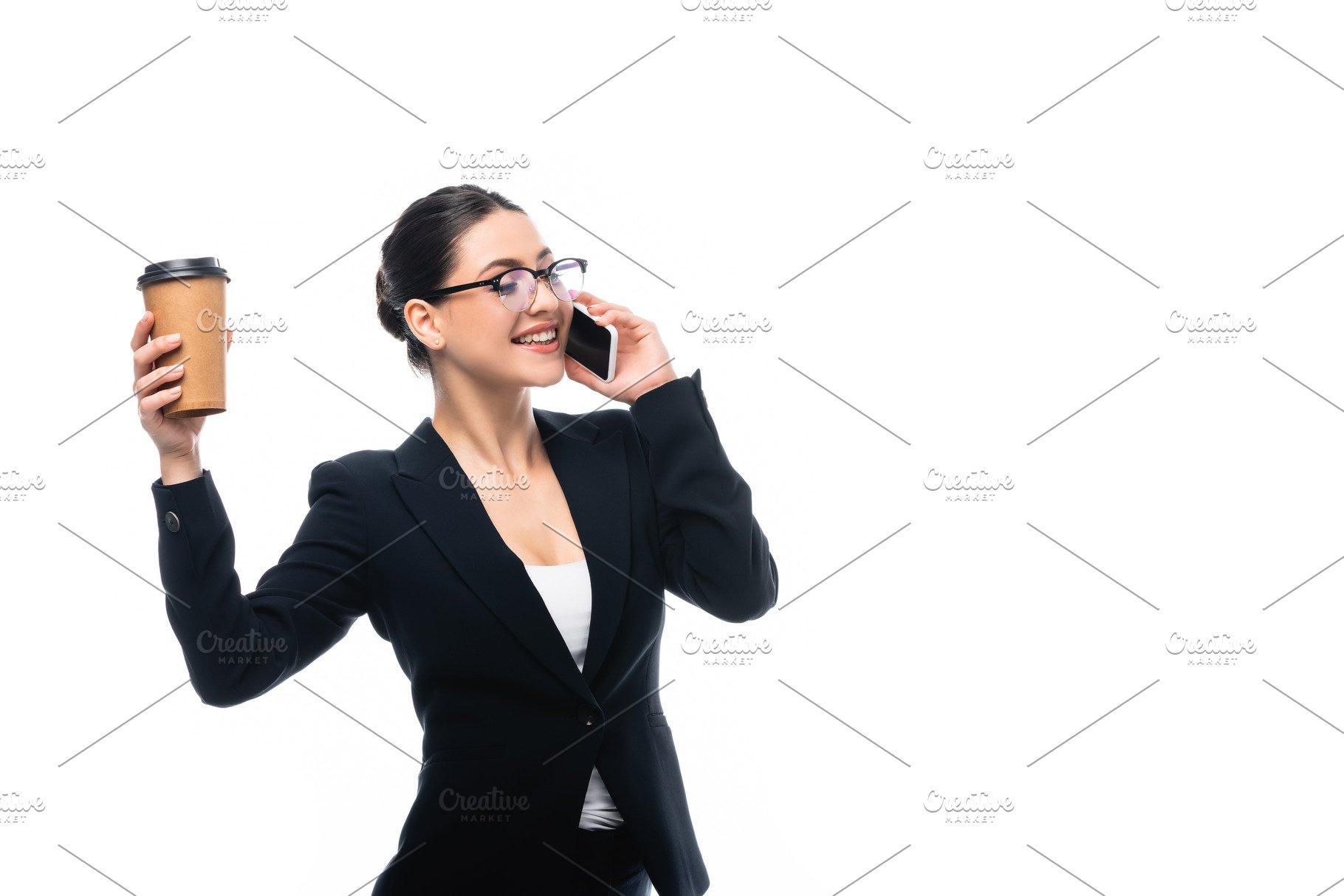 Happy Businesswoman Talking On Smart