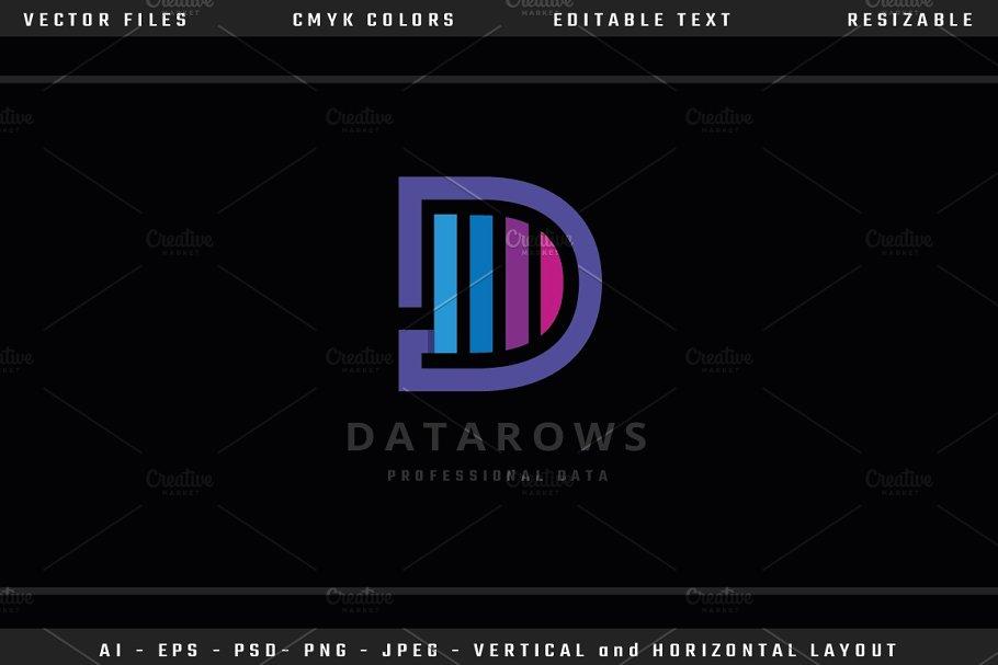 Data Rows Letter D Logo