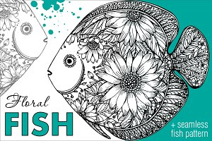 Hand Drawn Fancy Floral Fish