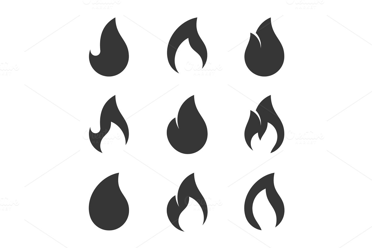 Fire Flames Icons Set on White