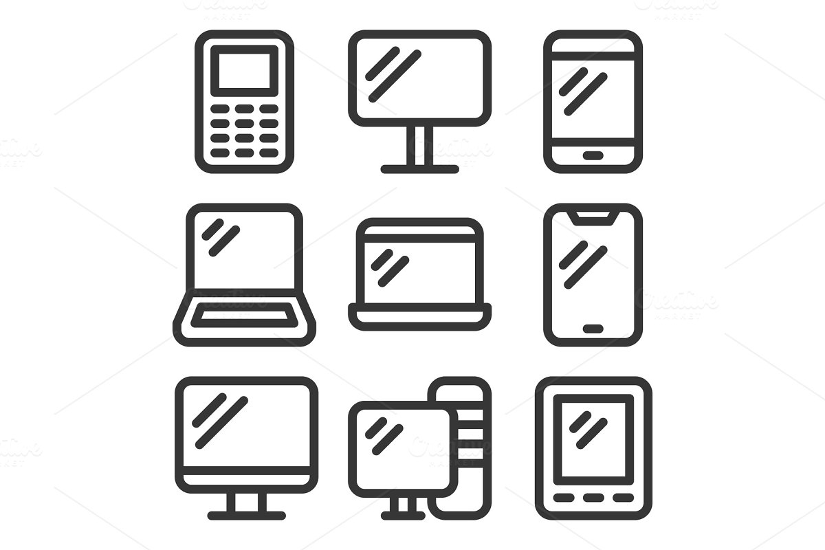 Electronic Devices Icons Set on