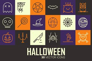 Sale: Halloween Party outline icons
