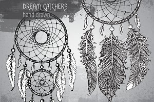 Hand Drawn Dream Catchers