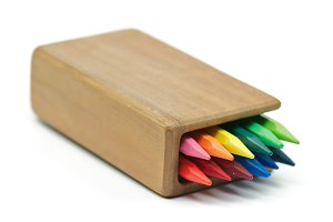 Rainbow Colored pencils in wooden ca