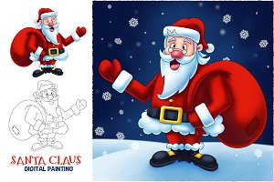 Santa Claus Cartoon Digital Painting