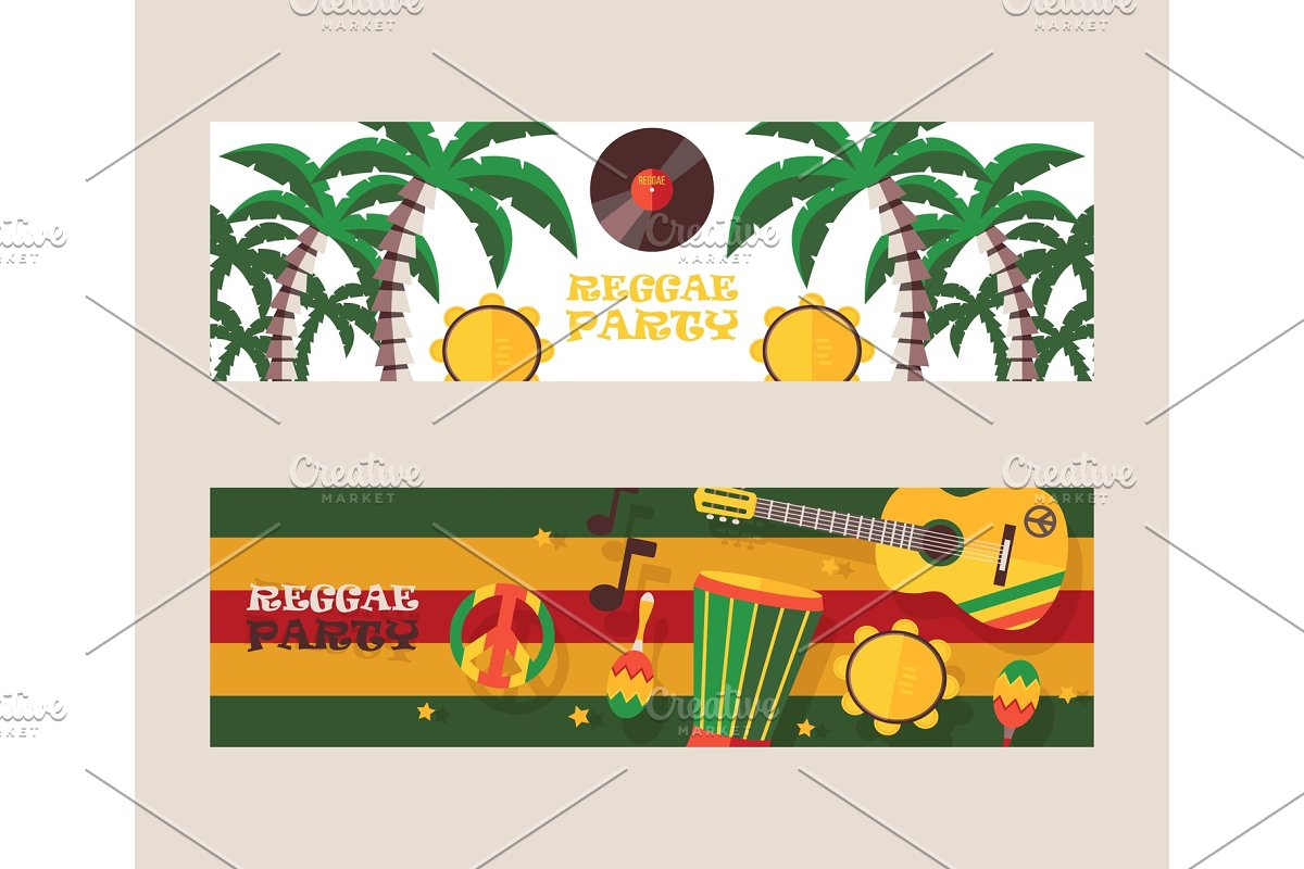 Reggae party invitation, vector