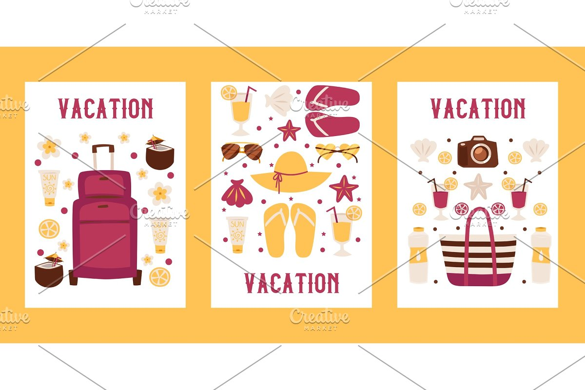 Summer vacation banners, vector