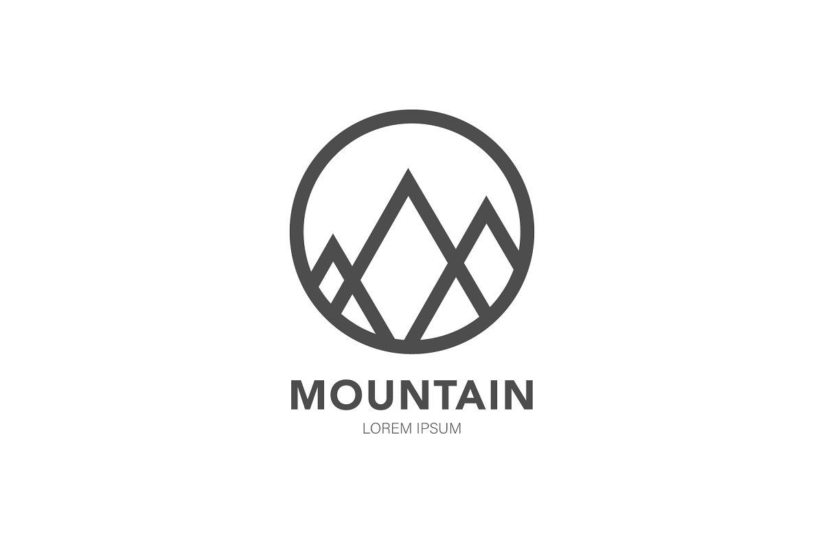 mountain negative space logo design