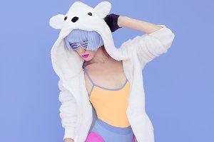 crazy girl in hoodie