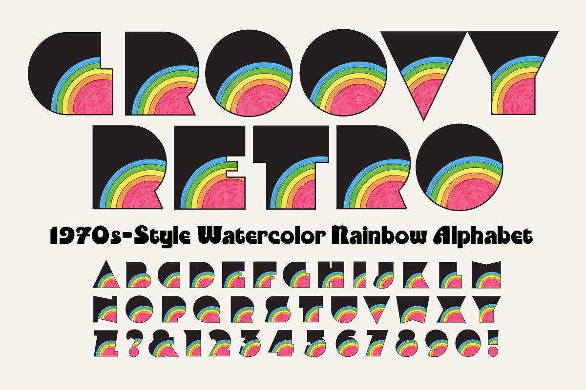 Groovy Watercolor Rainbow Alphabet