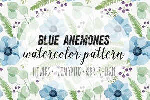 Blue Anemones Watercolor Pattern