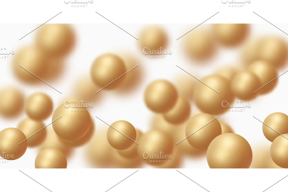 Background with golden balls, blur