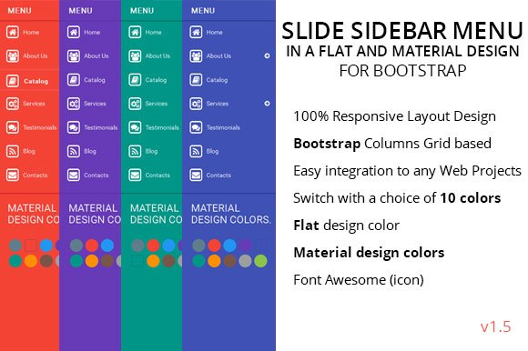 Slide Sidebar Menu Flat Color ~ HTML/CSS Themes ~ Creative Market on creative resume designs, creative postcards, creative strategy, creative posters, vintage retro wallpaper design, creative advertising, responsive html design, creative typography, htmltable data entry design, creative lighting,