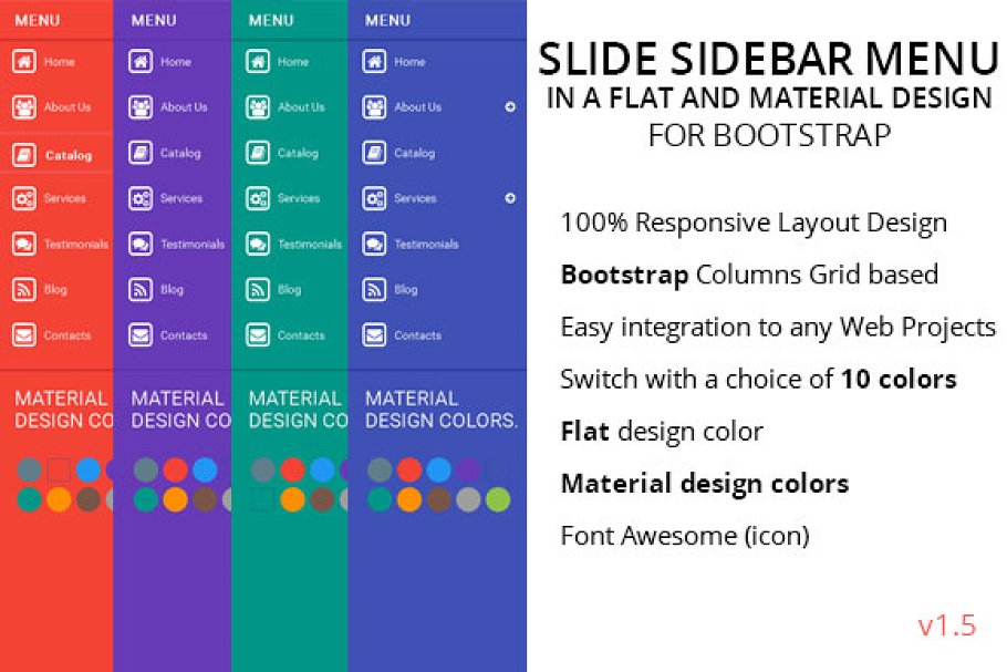 Slide Sidebar Menu Flat Color ~ HTML/CSS Themes ~ Creative Market