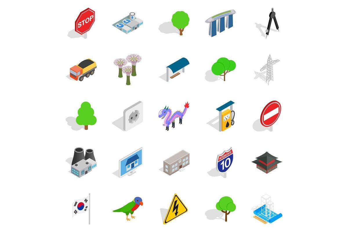 Roadside icons set, isometric style