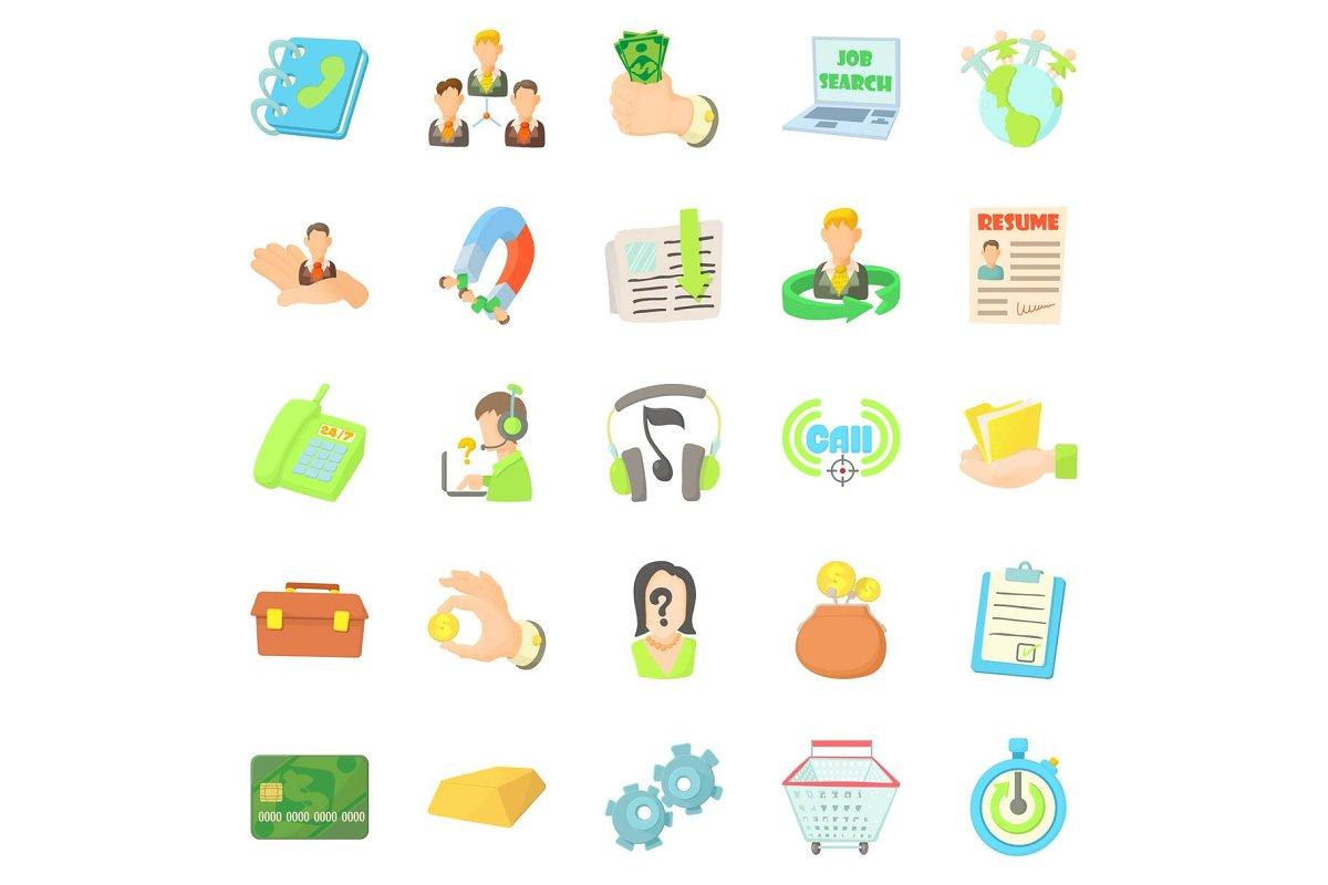 Credit card icons set, cartoon style