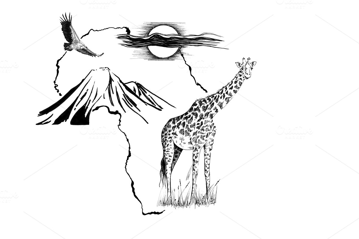 Giraffe on Africa map background wit