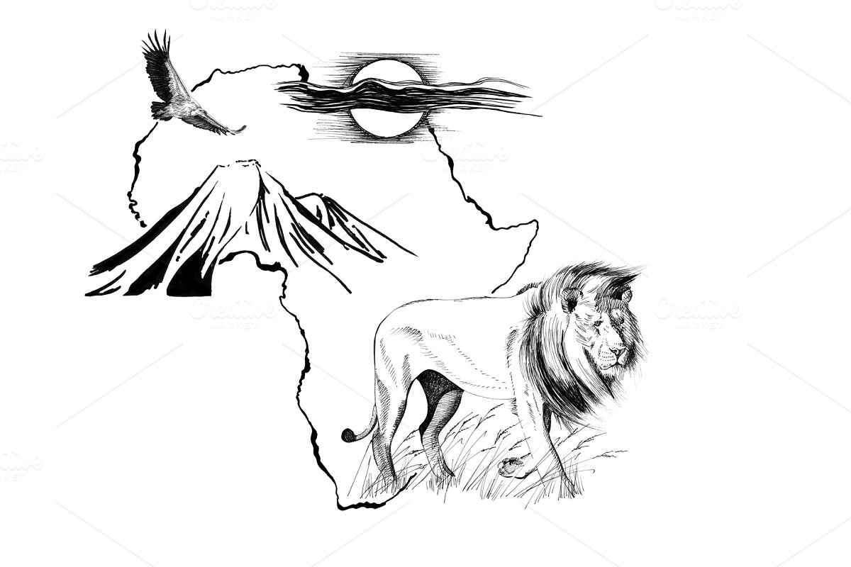 Lion on Africa map background with K