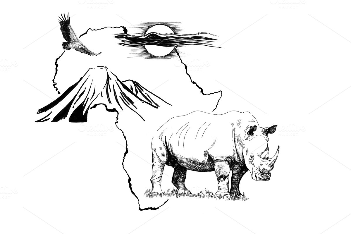 Rhino on Africa map background with