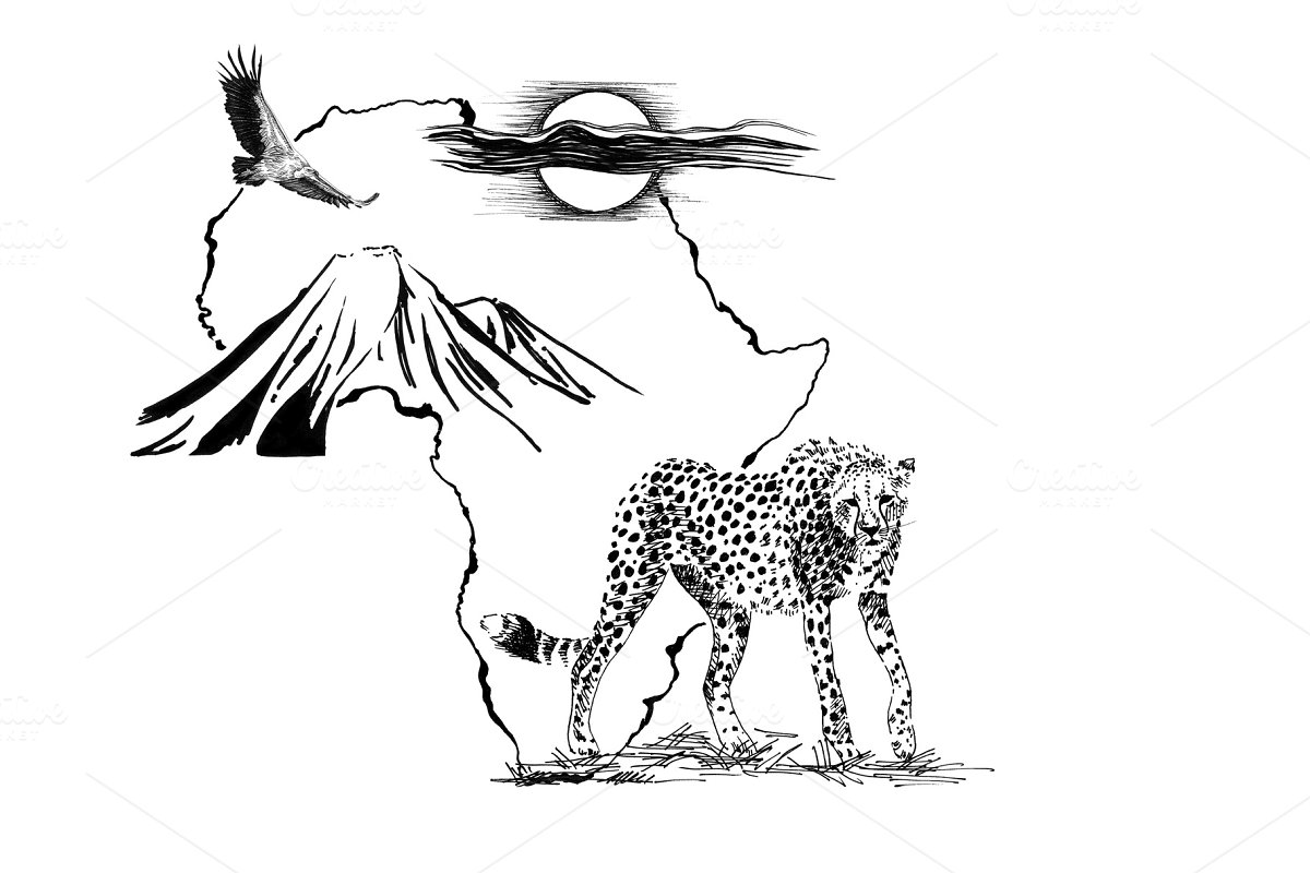 Cheetah on Africa map background wit