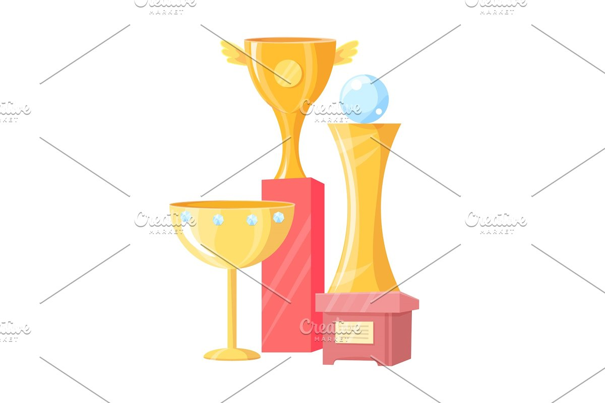 Three Golden Cups Isolated on White