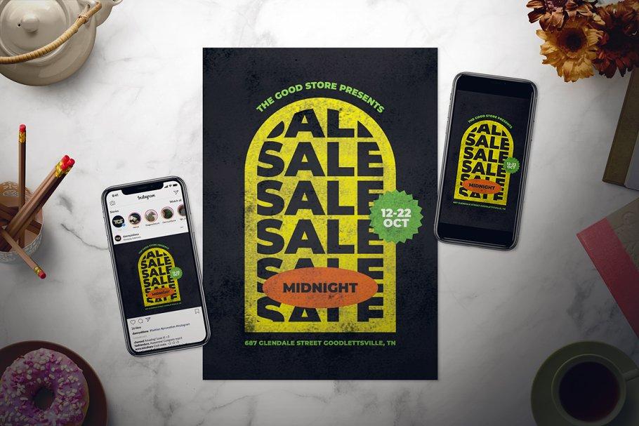 Retro Midnight Sale Flyer Set