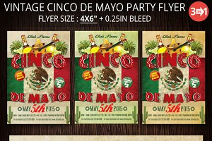 Vintage Cinco De Mayo Party Flyer