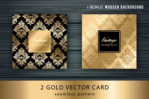 Gold card with seamless pattern