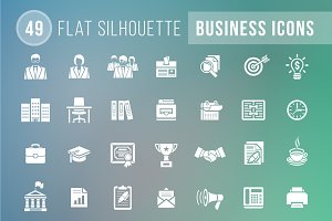 Flat Silhouette Business Icons