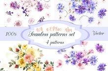 Seamless floral wallpaper set