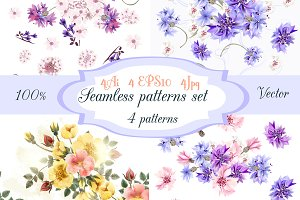 Seamless floral wallpaper set