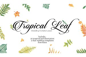 Tropical Watercolor leaf for Wedding