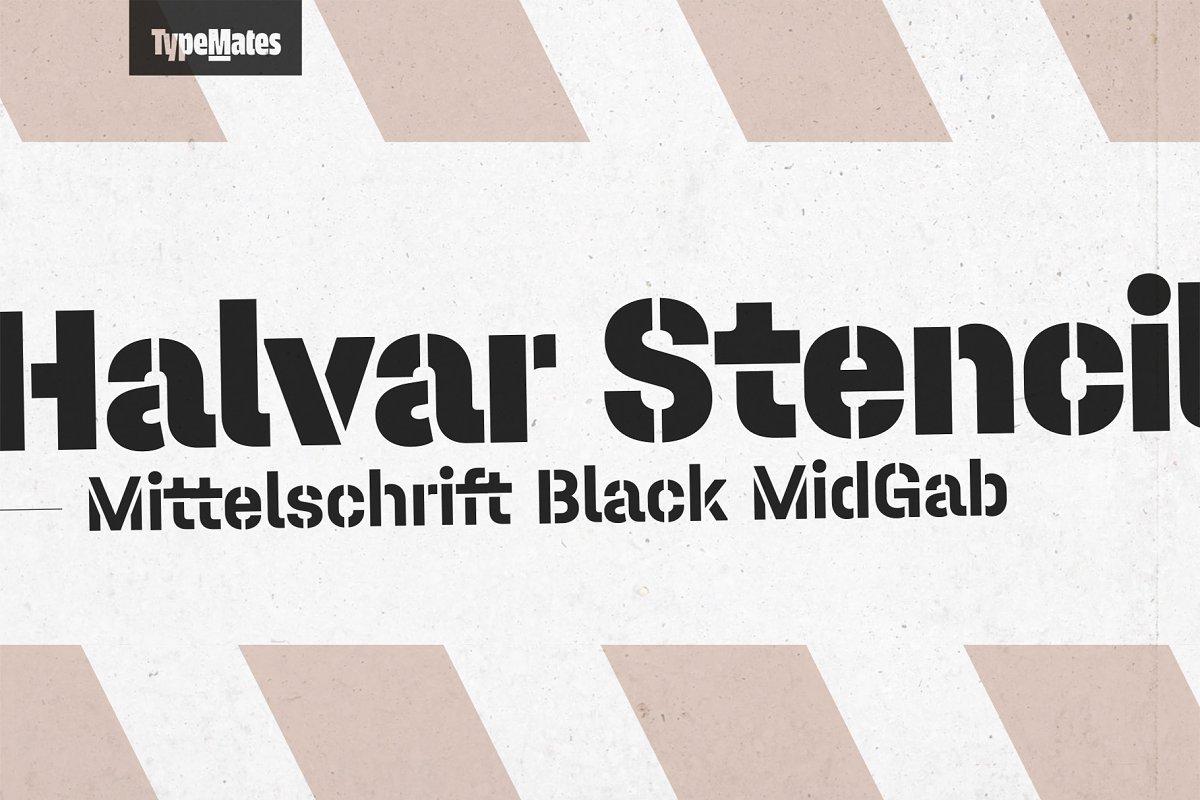 Halvar Stencil Basic Black 50% OFF ~ Display Fonts