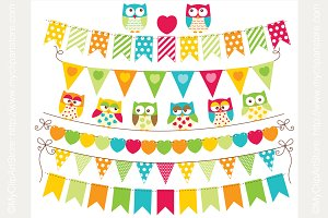 70% OFF - Owl Bunting Flags