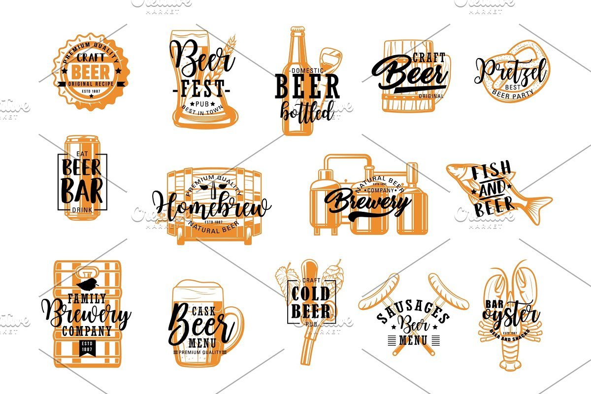 Brewery pub, beer and snacks icons