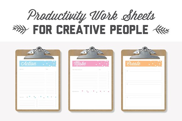Creative Productivity Worksheets Stationery Templates Creative