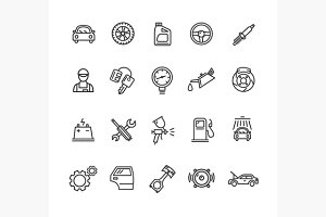 Car Service Outline Icons Set.