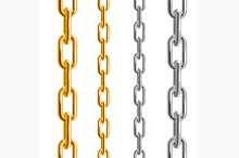 Gold and Silver Chains. Vector