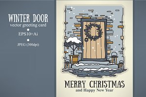 winter door, Christmas greeting card