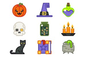 Witch magic halloween icons set