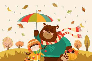 Girl and bear walking under umbrella