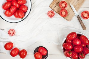 Ripe red tomatoes on the table