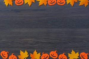 Autumn leaves halloween background