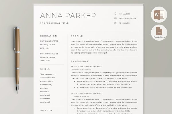 Resume Templates ~ Creative Market