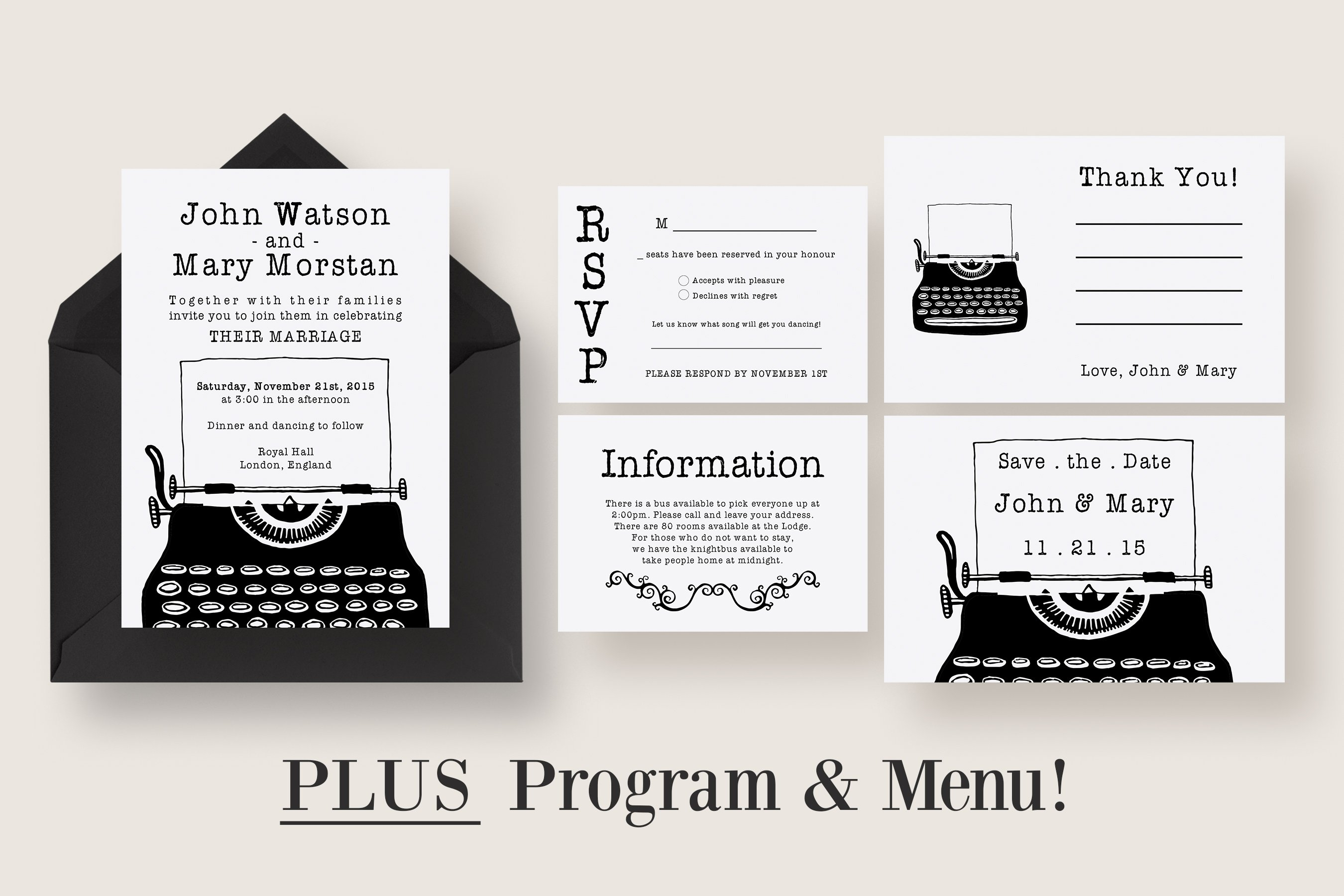 Vintage Typewriter Wedding Suite Invitation Templates Creative Market
